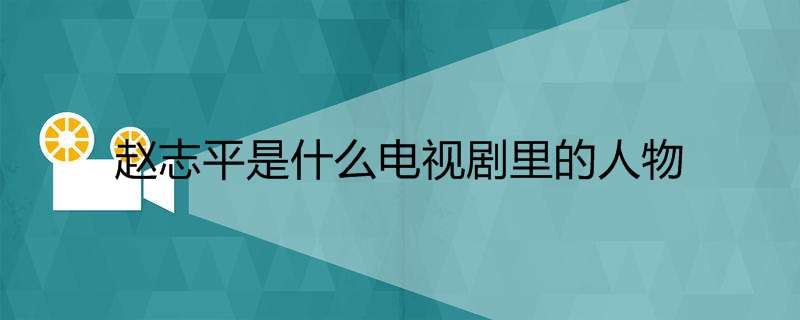 赵志平是什么电视剧里的人物