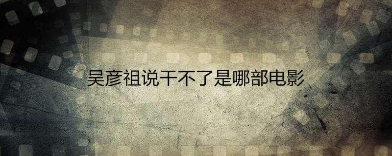 吴彦祖说干不了是哪部电影