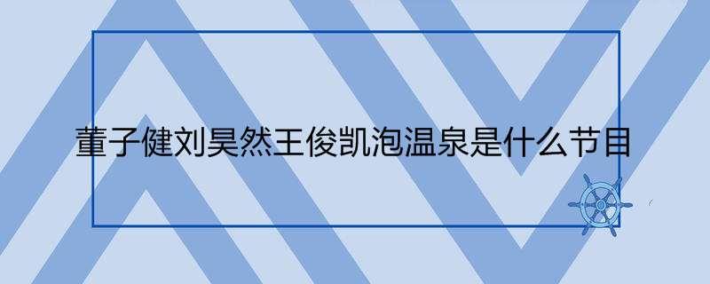 董子健刘昊然王俊凯泡温泉是什么节目